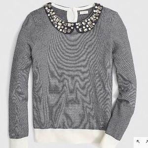 J.Crew Striped Sweater Jeweled Collar Sz Large
